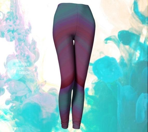 Eighties Throwback Leggings Womens Purple and Teal OMBRE LEGGINGS Vintage 80's style Leggings Work out Leggings Fashion Leggings Yoga Pants