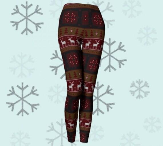REINDEER CHRISTMAS Legging Womens Christmas Pattern HOLIDAY Yoga Leggings Womens Yoga Leggings Christmas Gift for Wife Green Yoga Pants