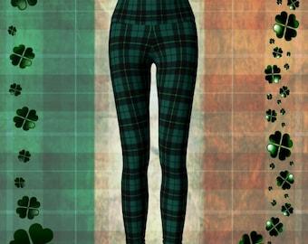 Green TARTAN PLAID LEGGINGS Womens Yoga Leggings Yoga Pants Plaid Yoga Leggings Christmas Yoga Leggings Christmas Yoga Pants Green Plaid