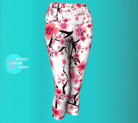 Pink Ribbon Cherry Blossom SURVIVOR LEGGINGS Women's Breast Cancer Leggings Pink Ribbon Gift Survivor Gift Support Gift for Women Yoga Capri