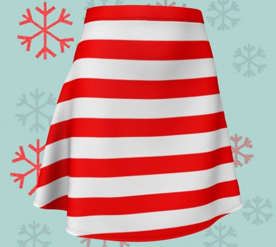 CANDY CANE SKIRT Red and White Striped Skirt Christmas Skirt Fitted or Flare Styles Designer Fashion Skirt for Women Christmas Clothing
