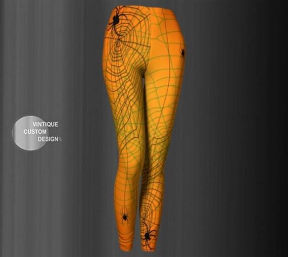 Halloween YOGA LEGGINGS for WOMEN Sexy Print Leggings Womens Yoga Pants Sexy Leggings Womens Work Out Leggings Art Tights Spider Web Print