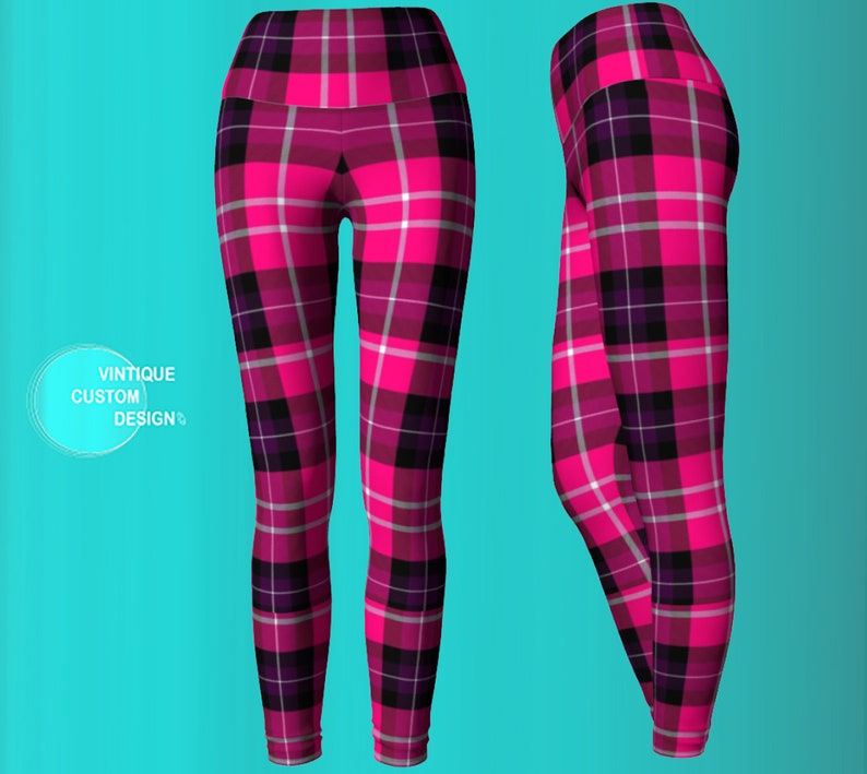c31eeed4739 Pink and Black TARTAN Plaid YOGA LEGGINGS Womens Leggings Yoga