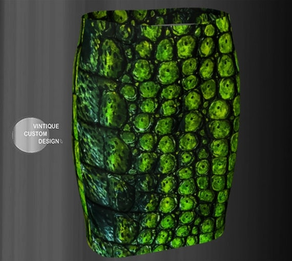 Crocodile Skirt WOMENS Reptile Scale Skin Animal Print Fashion Skirt High Waisted Skirt Slim Fitted Skirt Green Snake Print Reptile Skirt