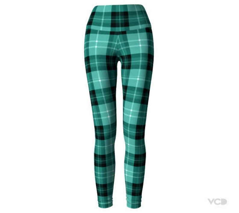 345b7832dfd Green TARTAN Plaid LEGGINGS Womens Yoga Pants Sexy Print