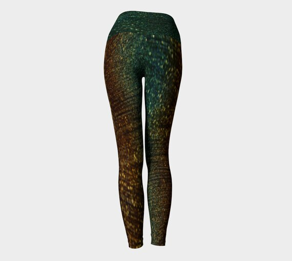 Art Printed Green Sparkly Gold Pants Friendly Clothing Womens Yoga and Leggings Eco Pants LEGGINGS GLITTER Women YOGA Womens for Work out pzx5qz7wB