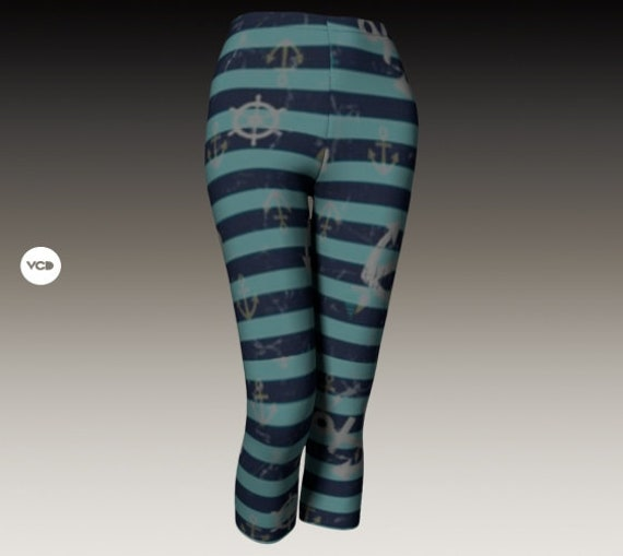 Capri LEGGINGS Anchor Lake House Boat Leggings Nautical Clothing WOMENS Yoga PANTS Striped Leggings Anchor Leggings Summer Clothing for Her