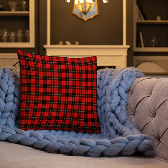 """Red TARTAN PLAID PILLOW Decorative Throw Pillow Christmas Holiday Decorations Home Decor Red Plaid Printed Pillow 18"""" x 18"""" Square Pillow"""