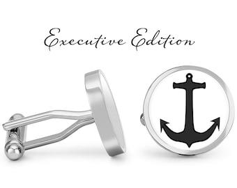 Nautical Cufflinks Groomsman Gifts Personalized Cufflinks Engraved Gold Anchor Cufflinks Nautical Jewelry Anchor Cuff Links