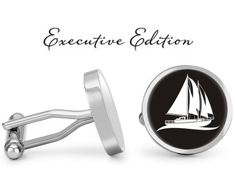 FREE GIFT BAG Silver Mens Navy Ship Boat Yacht Cufflinks Cuff Links Jewellery