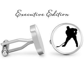 Ice Hockey P Cufflinks /& Tie Slide Clip Mens Hockey Gift Set UK Pewter