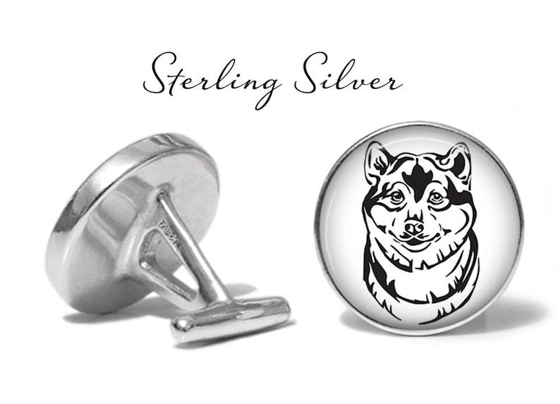 S2097 Shiba Inu Cufflinks Spitz Dog Cuff Links Lifetime Guarantee