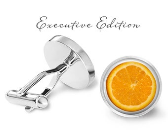 Orange Slice Cufflinks - Orange Cuff Links - Fruit Cufflink (Pair) Lifetime Guarantee (S1029)