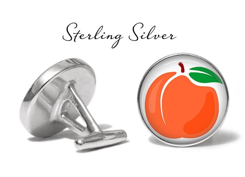 S1728 Peach Cufflinks Peaches Cuff Links Fruit Cufflink Lifetime Guarantee