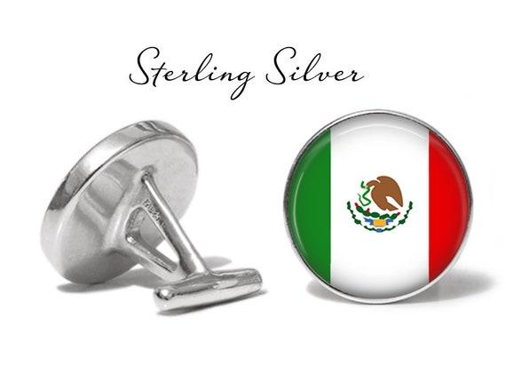 Solid Bronze Oakmont Cufflinks Mexico Flag Cufflinks Mexican Flag Cuff Links