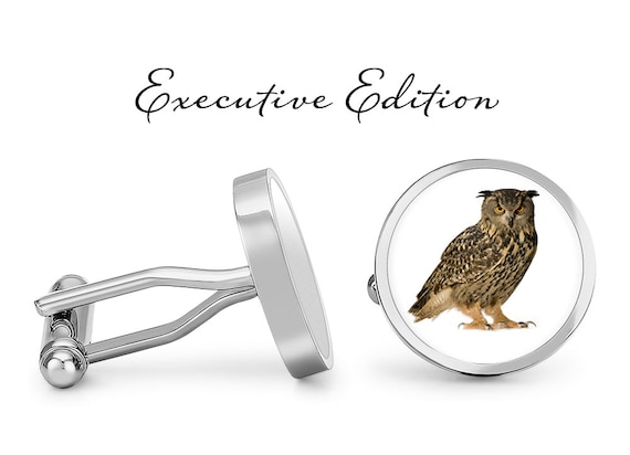 Owl Cufflinks Birds of Prey Cuff Links Solid Bronze