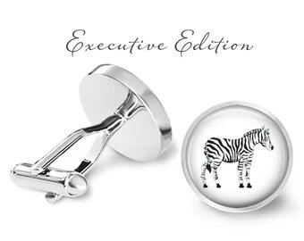 Zebra Cufflinks - Zebra Stripes Cuff Links - Safari Animal Cufflinks - Zebra Wedding Gift (Pair) Lifetime Guarantee (S0207)