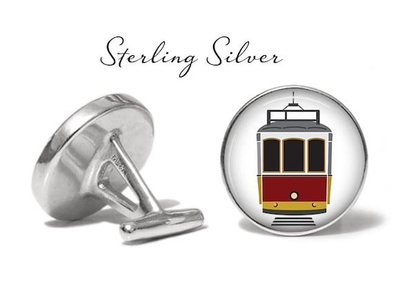 Streetcar Cufflinks Trolley Cable Car Cuff Links Angled Edition