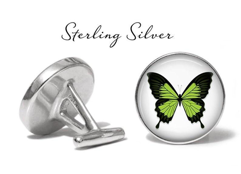 Lifetime Guarantee S1673 Green Butterfly Cufflinks Butterflies Cuff Links
