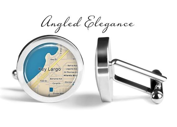 Lifetime Guarantee S2131 Key Largo Cufflinks Florida Keys Cuff Links Map Cufflink