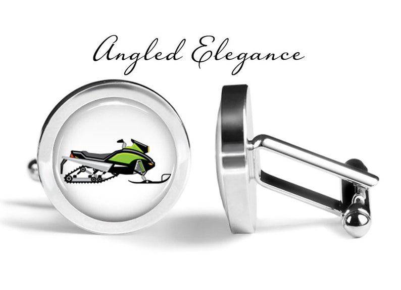 Pair Snow Mobile Cuff Links Green Snowmobile Cufflinks Cufflinks Winter Cufflink Lifetime Guarantee S0612 Christmas Cuff Links