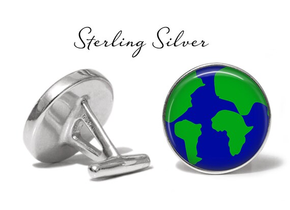 Solid Bronze Planet Earth Cufflinks Globe Cuff Links