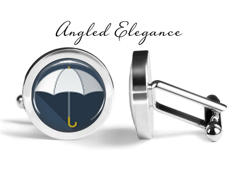 Rainy Day Cufflinks S0533 Umbrella Cuff Links Wedding Gift For Him White Umbrella Cufflinks Lifetime Guarantee Pair
