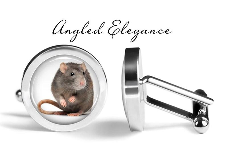 Rat Cufflinks Pair S0744 Animal Cufflinks Rodent Cuff Links Lifetime Guarantee