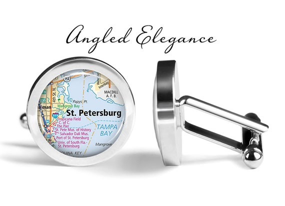 Map Cufflinks St Petersburg FL Map Cufflinks Handmade USA City Cuff Links State of Florida Antique Maps Circa 1920s