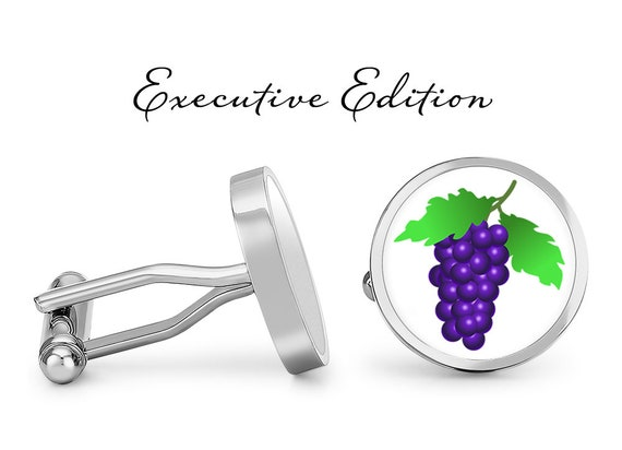 Oakmont Cufflinks Wine Grapes Cufflinks Grape Cuff Links Angled Edition