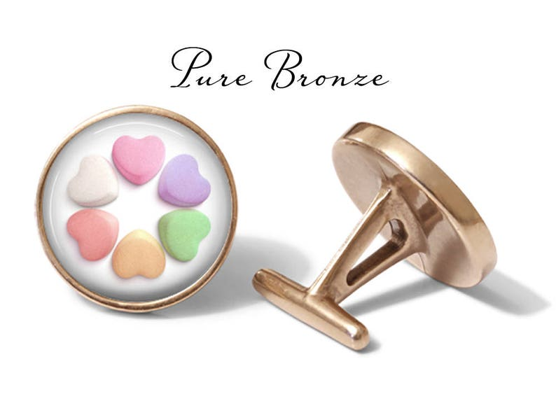 Valentine/'s Day Pair Valentine Gift Candy Heart Cufflinks S0064 Candy Cuff Links Lifetime Guarantee