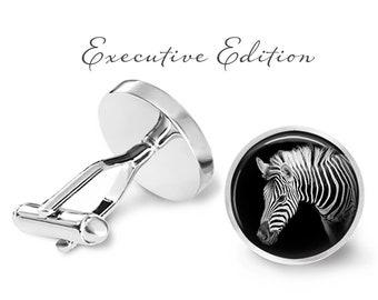 Zebra Cufflinks - Zebra Stripes Cuff Links - Safari Animal Cufflink (Pair) Lifetime guarantee (S1407)