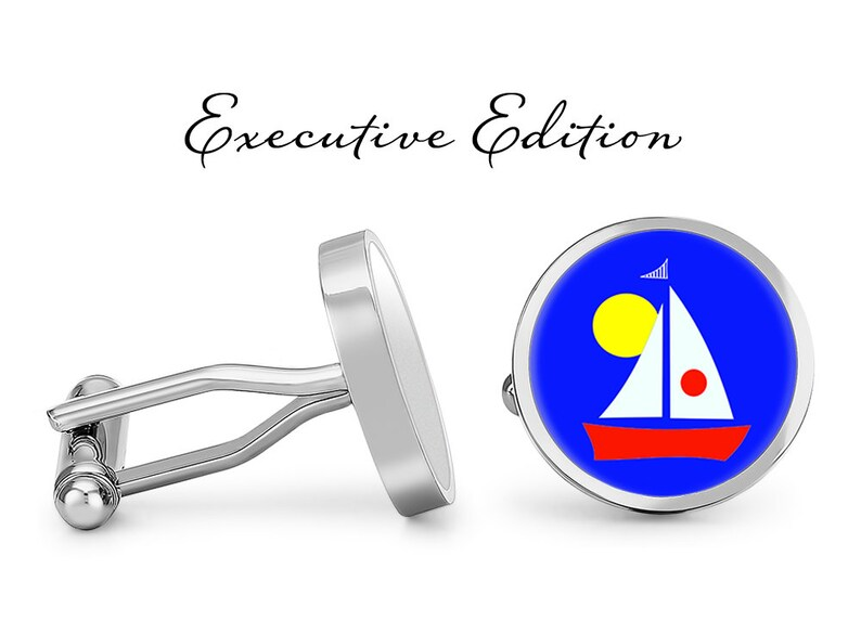 Lifetime Guarantee Boat Cufflinks Pair Maritime Cufflink - Sailboat Cufflinks Artsy Sailboat Cufflinks S0915 Beach Cuff Links