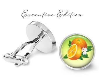 Orange Cufflinks - Orange Blossom Cufflinks - Orange Slice Cuff Link - Fruit Cufflinks (Pair) Lifetime Guarantee (S0189)