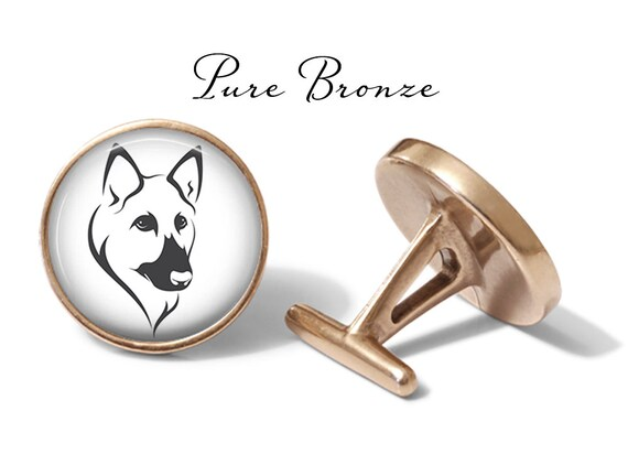 Oakmont Cufflinks German Shepherd Cufflinks Dog Cuff Links Solid Bronze