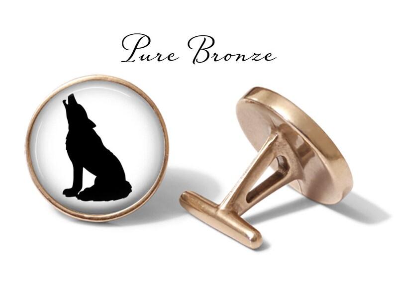 Wolf Silhouette Cufflink Wolf Cuff Links Howling Wolf Cufflinks Lifetime Guarantee S1139 Pair