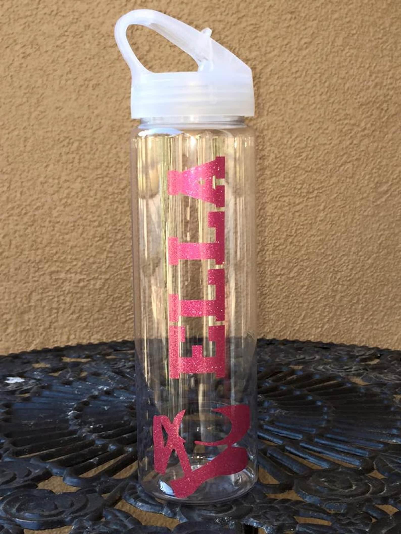 ballet personalized water bottle- ballet shoes, glitter water bottle, water bottle with name, bpa free, flip lid water bottle, b