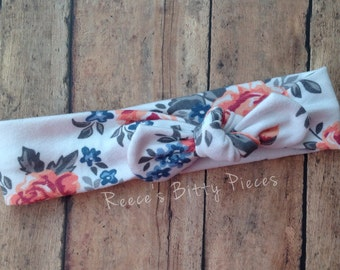 Top Knot Headband || Spring Floral on Cotton Jersey Knit Fabric || Knotted Headband