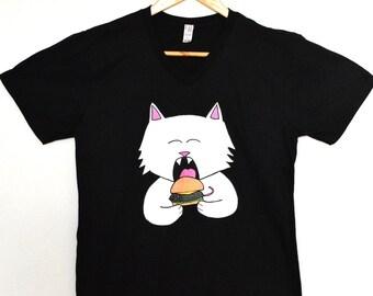 Cat Burger T-shirt, mouse burger T-shirt, cat T-shirt