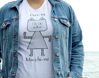 Cat Robot T-shirt, Purr T-shirt, cat T-shirt, cute cat tee