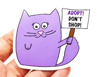 Adopt Don't Shop vinyl sticker, laptop stickers, cat sticker