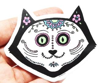 Cat skull Sticker, vinyl sticker, laptop stickers, cute cat