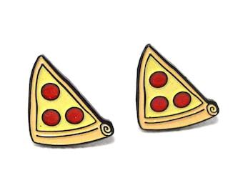 Pizza earrings, cute pizza earrings, enamel stud earrings