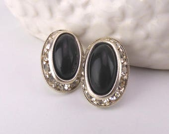 Silver Tone Pierced Earrings with Black Stones and White Diamantes - Butterfly Backs - Costume Jewellery - Vintage Jewelry - Birthday Gift