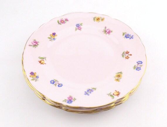 Six assiettes de thé Chine Toscane rose avec petites fleurs - Bone China Spray Floral Design - Afternoon Tea Party - Chine armoire pièces