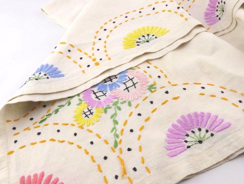 Small Vintage Embroidered Tablecloth Hand Embroidered Tea Cloth 33.25 x 32.5 Tea Party or Afternoon Tea Pink Blue Flowers