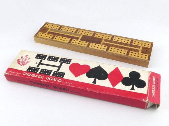 Incrusté de cribbage bois avec trois piquets - jeu Vintage Original Box - Vintage Home décoration - cadeaux pour lui - FC Conseil
