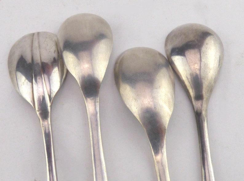 Small Condiment Spoons Serving Spoons Salt Spoons Four Small Silver Plated Mustard Spoons Craft Supply