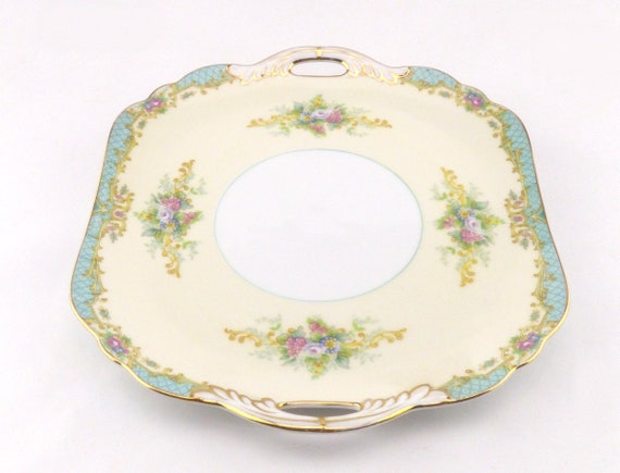 Noritake Ceramic Cake Plate With Wall Hanging Fixture Pretty Floral Design Vintage Home Decoration Decorative Handled Wall Plate