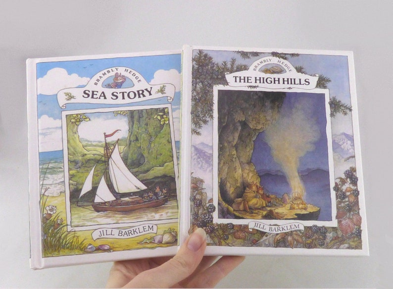 Two Brambly Hedge Books - The High Hills and Sea Story - Scarce Childrens  Books Nursery Decor - Brambly Hedge Collection - Gift for Child